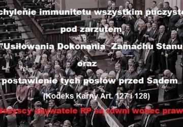 Uchylenie immunitetu i postawienie przed sądem za usiłowanie dokonania zamachu stanu.