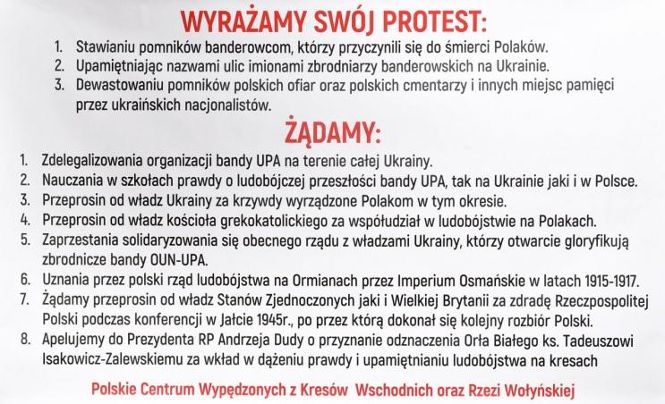 Protest przeciwko działaniom rządu Ukraińskiego hołubiącego UPA