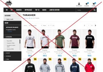 Usunięcie możliwości sprzedaży ciuchów marki THRASHER ze sklepu urbancity.
