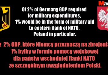 1% of Germany military budget as aid to Poland and eastern flank of NATO