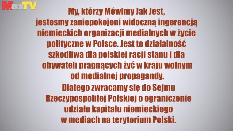 Petycja o ograniczenie kapitału niemieckiego w polskich mediach