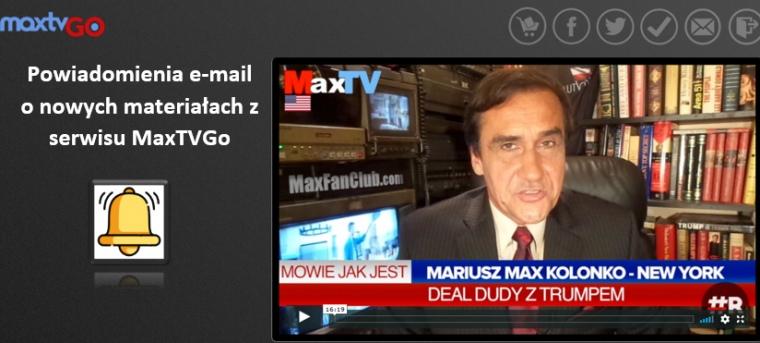 Powiadomienia e-mail z MaxTVGo